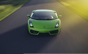 Picture Lamborghini, Gallardo, Green, Speed, Front, Sun, Turbo, Road, V10, Supercar, LP560-4, Twin
