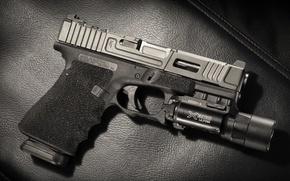 Picture gun, background, flashlight, Glock 17, Mark 1