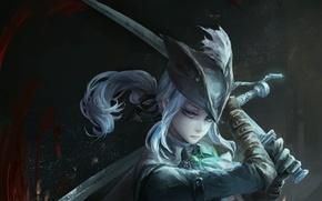 Picture girl, sword, art, bloodborne, jlien