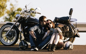 Picture sunshine, road, woman, motorcycle, couple, helmets, shadow, male, travelling