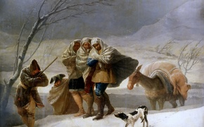 Picture animals, Blizzard, picture, genre, Francisco Goya, people, travelers, Winter