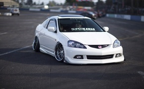 Picture turbo, white, wheels, honda, japan, jdm, tuning, low, acura, stance, integra, rsx, type r, dapper