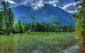 Picture landscape, mountains, nature, river, HDR, Germany, Bayern