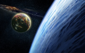 Picture moon, planet, atmosphere, Sci Fi