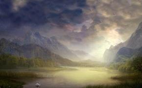 Picture lake, figure, Swan
