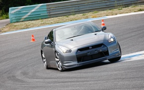 Picture silver, sportcar, track, R35, Nissan GTR