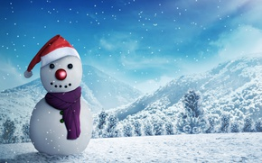 Picture winter, forest, snow, trees, landscape, mountains, snowflakes, rendering, glade, hat, scarf, New year, snowman, 3D