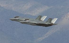 Wallpaper fighters, bombers, flight, F-35B, Lightning II