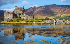 Picture mountains, bridge, Scotland, the fjord, the Eilean Donan castle