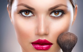 Picture look, face, lipstick, lips, brush, shaving brush