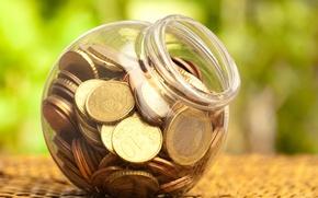 Wallpaper coins, Bank, plastic, money, macro., coins, bokeh, blur, plastic, piggy, bank