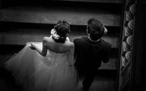 Picture dress, pair, black and white, lovers, the bride, the groom