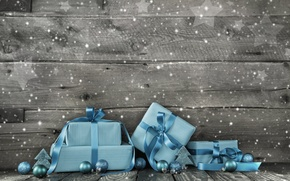 Picture New Year, Christmas, gifts, Christmas, wood, blue, snow, decoration, gifts