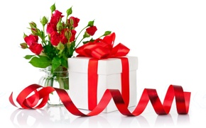 Picture flowers, gift, roses, rose, bow, flowers, valentine's day, gift