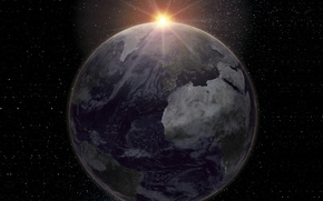 Picture light, Europe, sun, Africa, oceans, Planet Earth