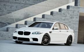 Picture white, bmw, BMW, ladder, white, wheels, black, side view, f10, daylight, black rims