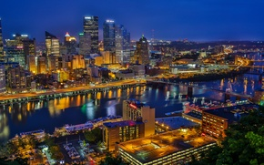 Picture river, building, bridges, night city, PA, skyscrapers, Pennsylvania, Pittsburgh, Pittsburgh, Golden Triangle, Golden triangle, the …