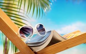 Picture sea, Palma, glasses, chair, book