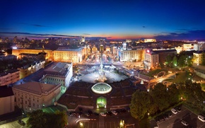 Picture the sky, home, the evening, roof, panorama, Ukraine, Kiev, city view, Independence square