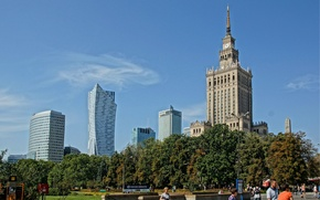 Picture the sky, trees, home, Poland, Warsaw, the Palace of science