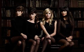Picture girls, books, four, library, four, Lucy Hale, Ashley Benson, Troian Avery Bellisario, Shay Mitchell, Pretty …