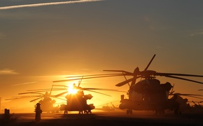 Wallpaper the sun, helicopters, sunset