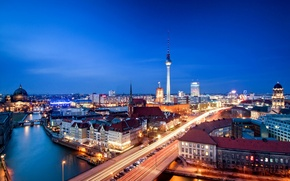 Picture road, architecture, machine, the city, capital, the evening, night, building, river, Berlin, Alexanderplatz, tower, Berlin, ...