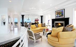 Picture design, furniture, Villa, interior, fireplace, living room