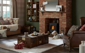 Picture design, style, living room, interior, fireplace