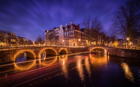 Picture trees, bridge, lights, home, Amsterdam, channel, Netherlands
