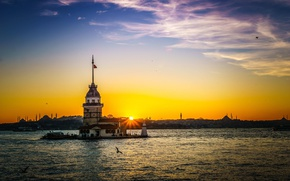 Picture the sky, clouds, sunset, island, Istanbul, Turkey, the Bosphorus, Maiden tower