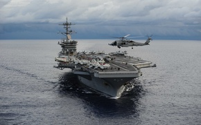 "Wallpaper helicopter, SH-60F, (CVN 71), ""Nimitz"", USS Theodore Roosevelt, type, Sea Hawk, the ocean, the carrier"