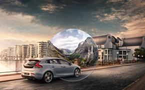 Picture road, the sky, bridge, house, grey, volvo, Volvo, universal, C40, v40