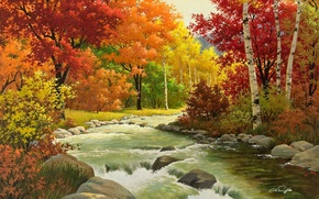 Picture autumn, forest, leaves, trees, nature, paint, picture, Arthur Saron Sarnoff