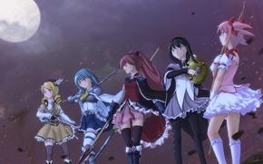 Picture night, weapons, girls, the moon, sword, hat, anime, bow, art, mahou shoujo madoka magica, homura …