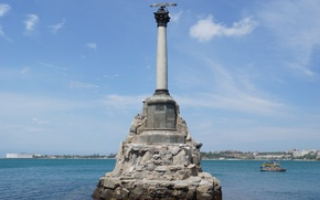 Wallpaper sea, the sky, water, the city, hero, monument, Russia, Crimea, Sevastopol, monument to the scuttled ...