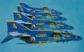 Picture art, F-4, painting, aviation, Blue Angels, jet