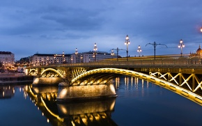 Picture reflection, lighting, the city, lights, the evening, Hungary, Margaret Bridge, Margit Bridge, river, clouds, light, …