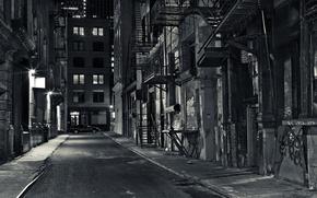 Picture road, light, street, Windows, home, Night