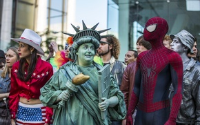 Picture the statue of liberty, spider-man, Andrew Garfield, The Amazing Spider-Man 2