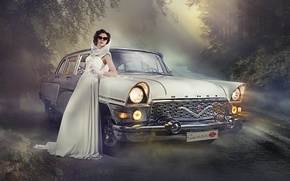 Picture machine, girl, pose, retro, Seagull, dress, USSR, beautiful, car, Model, Girls, ladyCar, auto-girl