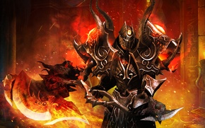 Picture metal, weapons, fire, warrior, armor, Battle of the Immortals