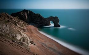 Picture sand, sea, grass, water, rock, stones, the ocean, rocks, hills, shore, coast, stone, England, gate, …