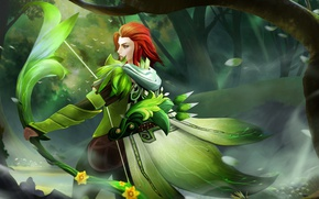 Picture greens, grass, girl, weapons, Archer, red, Defense of the Ancients, cool, dota 2, Dota, windrunner, …