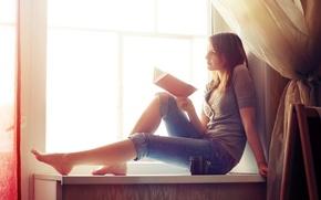 Picture girl, window, book, Xenia