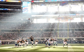 Picture Rugby, American football, rays of light, stadium, cool atmosphere