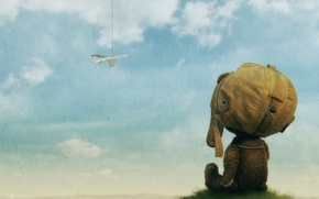 Picture clouds, the plane, figure, bear
