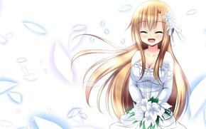 Wallpaper asuna, Asuna, bouquet, sword art online, sao, Sword art online, dress