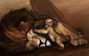 Wallpaper animals, figure, predators, Leo, Disney, lion, animals, lion, Disney, The Lion King, drawing, return home, ...