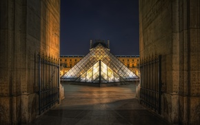 Picture night, France, Paris, The Louvre, paris, night, france, louvre, pyramid, museum